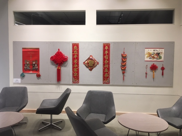 wall with Chinese objects hanging up