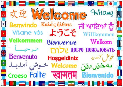 Welcome in many different languages