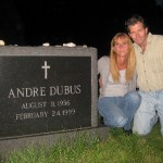 At Andre Dubus' grave with Andre Dubus III.