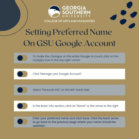 How to set your preferred name on the GSU Google account
