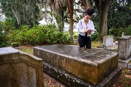 Student in Bonaventure Cemetery
