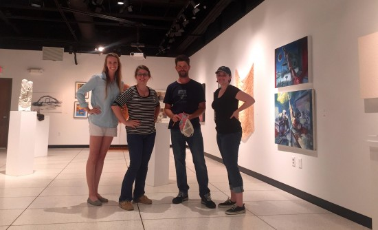 From left: Jessamy McManus, Courtney Ryan, , Virginia Skinner. At Augusta University Mary S. Byrd Gallery of Art